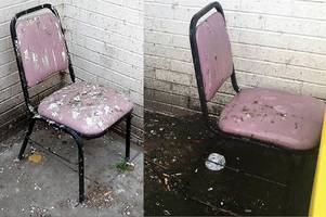 pigeon poo chair left in filthy hospital smoking area for three months despite deaths