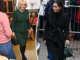 camilla wears the same £295 green handbag as the duchess of sussex