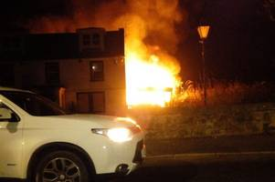 caravan which caught alight sparks major fire operation