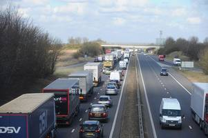 live: m11 closed near stansted airport following serious collision
