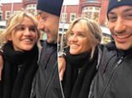 ashley roberts playfully serenades her strictly beau giovanni pernice as they enjoy low-key stroll
