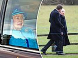 the queen is joined by sir jackie stewart for sunday service in sandringham