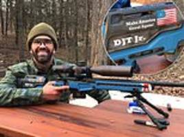don jr shows off his custom .22 rifle with make america great again inscribed on it