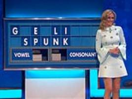 'what are you up to rachel?' giggling countdown star can't resist spelling out another rude word