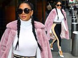 nicole scherzinger puts on stylish display in a fluffy pink coat