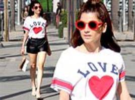 1d66e1e1e8ed7 Blanca Blanco is ready for Valentine's Day with her red heart Chaser shirt