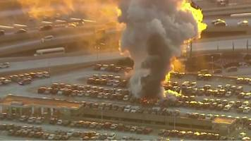 new jersey: cars destroyed in newark airport fire