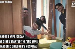 kyle rudolph explains his children's hospital charity, 'the end zone' and how it helps families 'escape' in the hospital