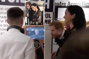 meghan markle and harry's priceless reaction as boy drops f bomb during royal visit