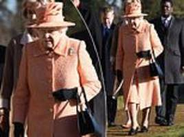 pretty in peach! the queen looks stylish at church in sandringham