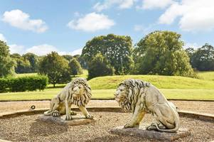 you could live in a nottinghamshire hall with parkland - and it even comes with stone lions