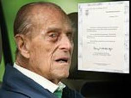 duke of edinburgh sends thank you letters to wellwishers who wrote to him after his crash