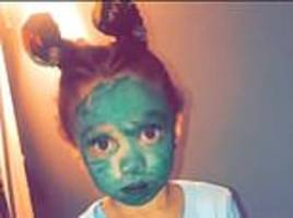 'do you want to be the grinch?' mom discovers her three-year-old has colored herself in green pen