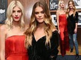 devon windsor and nina agdal glam up for l'agence x daily front row dinner in nyc