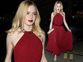 ellie bamber catches the eye in red grecian-inspired gown at pre-bafta dinner
