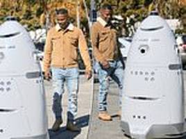 jamie foxx is left stumped and amused by r2-d2-looking patrol officer on the streets of malibu
