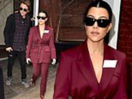 kourtney kardashian exudes effortless style as she rocks plunging maroon jacket stepping out in nyc