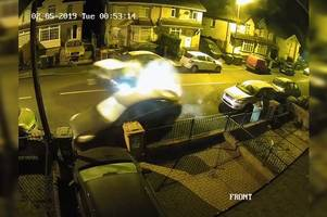 the moment a driver smashes into parked cars and pinballs around a street