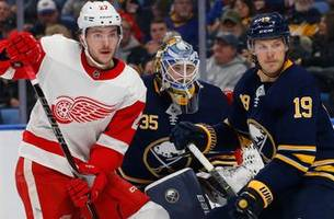 red wings overpowered by sabres 3-1
