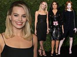 margot robbie stuns in a waist-cinching black frock as stars party hop to another bafta bash