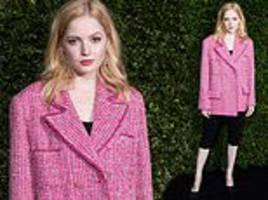 ellie bamber rocks a textured pink jacket with leggings for charles finch x chanel bafta pre-party