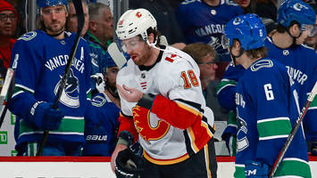 watch: flames' james neal loses several teeth after high stick