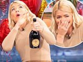 holly willoughby narrowly misses this morning medic as she pops prosecco