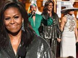 Michelle Obama has the audience in tears as she joins Lady Gaga and Jennifer Lopez at The Grammys