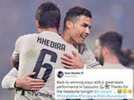 Sami Khedira's hilarious response to Ronaldo after Juventus team-mate blasts ball into his face