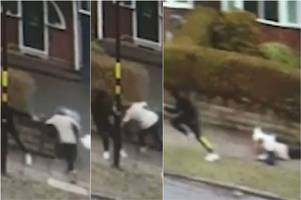 watch woman grabbed and thrown to the ground in brutal handbag snatch