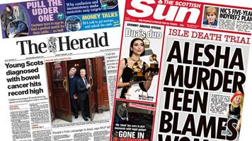 scotland's papers: cancer record and alesha murder trial