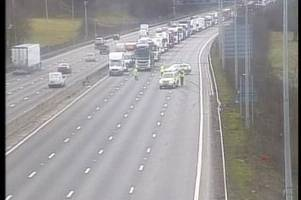 m25 traffic: live updates as delays expected until 7pm after lorry and car crash near m11 junction