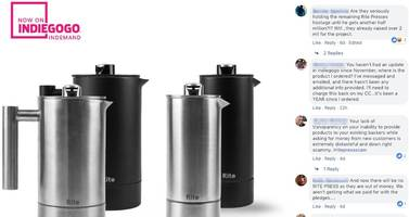 a buzzy coffee startup raised more than $2 million through crowdfunding. a year later, hundreds of backers who still haven't received their french presses are comparing it to fyre festival and vowing never to use kickstarter again.