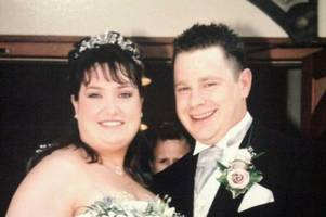 Couple unrecognisable from wedding snaps 14 years ago after losing 10 stone