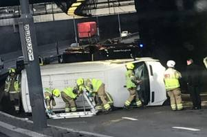 a406 north circular chingford traffic: road shuts after van completely overturns