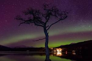 wishaw photographer bags brilliant picture of northern lights over loch lomond