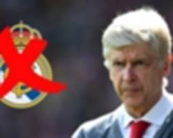 'it's over' - wenger won't take real madrid job as he confirms he turned them down 'more than once'