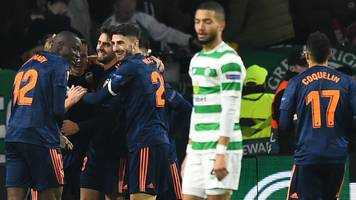 Europa League: Celtic 0-2 Valencia - hosts easily beaten in first leg