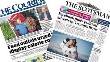 scotland's papers: trump's turnberry ads pulled by facebook