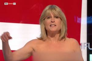 rachel johnson strips on live tv to say 'boobs to brexit'