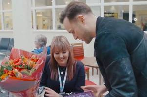 the special moment a broomfield hospital nurse recieved a valentine's day surprise from olly murs