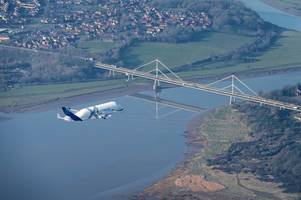 stunning photos and videos show airbus belugaxl whale plane fly over severn bridges