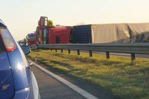 a130 traffic: video shows overturned lorry crash scene as 'air ambulance lands' near chelmsford