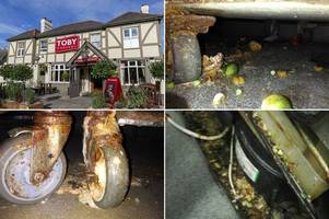 inside disgusting toby carvery kitchen covered in waste with rancid floors