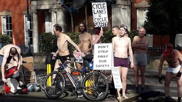 cyclists strip to underwear in derby road plans protest