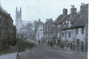 only the magnificent church remains in this fabulous vintage view of derby