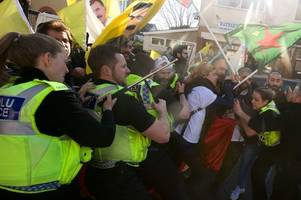 what happened when kurdish protesters clashed with police in newport