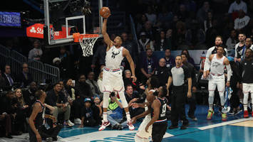 watch: giannis antetokounmpo slams bounce-pass lob from steph curry at all-star game