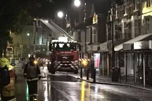 firefighters remain at scene of massive chip shop blaze