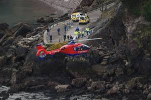 two air ambulances called to serious torquay cliff rescue